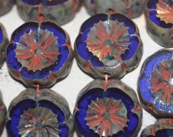 Czech Glass Beads,  Flower 15mm Cobalt Blue