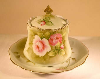 Lefton Jam Jelly & Lid with Underplate//Pattern ~ Heritage Green//Vintage China