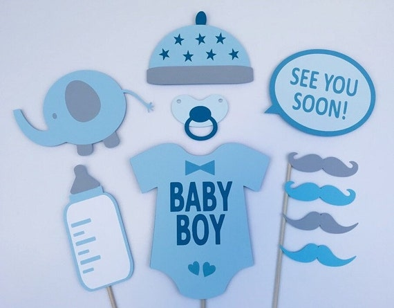boy baby shower photo booth props  baby boyraiseyourprops