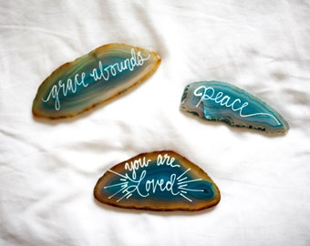 3 Hand Painted Glass Teal Stones