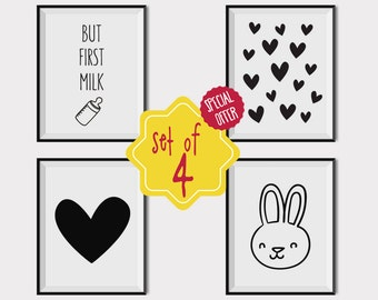 Nursery decorations, Set of 4 prints, Printable kids art, Baby room decoration, Black and white nursery prints, Playroom wall decor, bunny