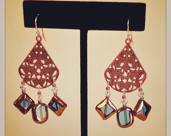 Copper Filigree & Blue Chandelier Earrings