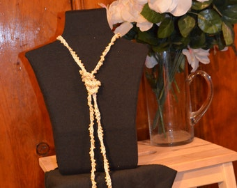 Snowflakes Crocheted Lariat Necklace