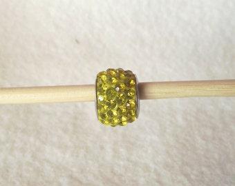 European Charm Bracelet 925 Sterling Silver Yellow Cubic Zirconia Crystal Bead Z065
