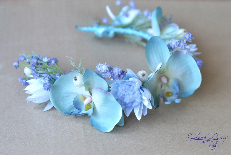 Bridal crown light blue wedding flower crown orchid hair zoom dhlflorist Gallery