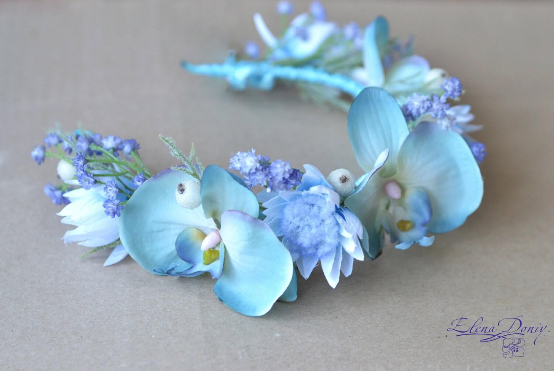 Beach Bridal Crown Light Blue Wedding Flower Crown By Vualia