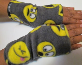Emoji fingerless gloves fleece gloves