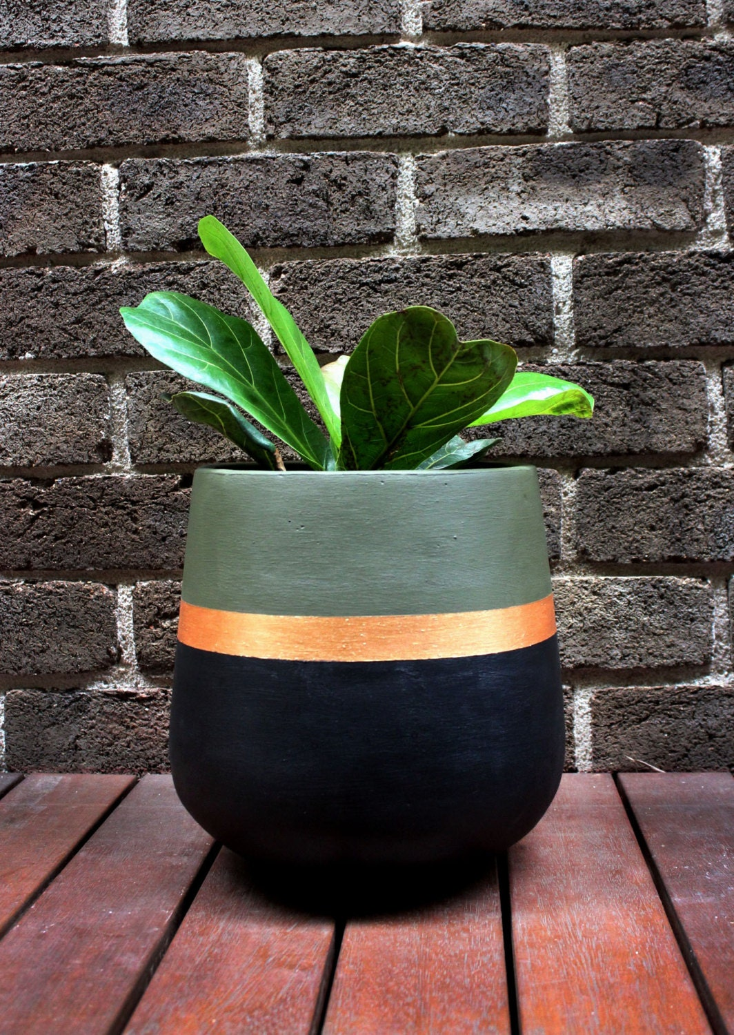 Hand painted lightweight indoor plant pot khaki black gold for Big pot painting designs