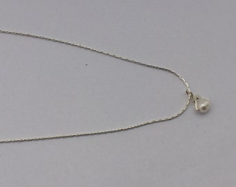 Freshwater Pearl Necklace on Sterling Chain