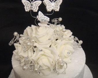 crystal pearl butterfly ivory white rose wedding cake topper