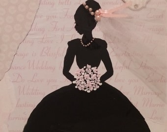 Bride Silhouette painted Mixed Media art on stretched canvas wedding gift 8x10
