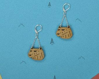 Wood WOODEARZ bear earrings