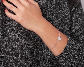 Diamond bezel heart bracelet - sterling silver  plated charm bracelet - simple everyday jewelry - valentine