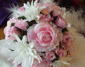 FEATHER DUST.   Rose Feather Bridal Posy