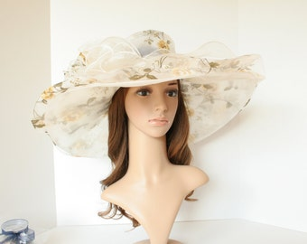 """Newest Kentucky Derby, Church, Wedding, Carriage, Tea Party with Jumbo Ascot 7.5"""" Wide Double Brim Organza Hat ( Yellow )"""