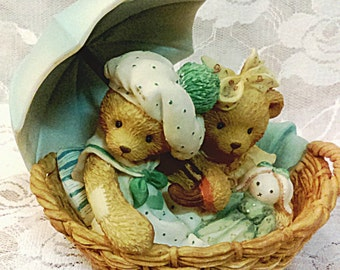 Cherished Teddies Beth & Blossom- Retired Vintage Collectible Figurine/Gift for your friend/Gift for a co-worker who retires/Home decor
