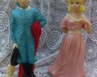 vintage Colonial couple/Men and a women/Hand made statues/Victorian Home Decor