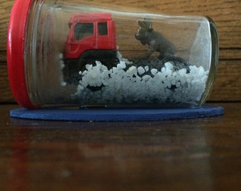 Truck stuck in the snow with moose on it -great Easter Basket gift