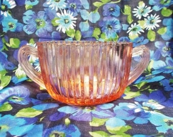 Vintage Pink Pressed Glass Sugar Bowl