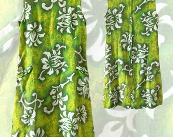 Vintage Midcentury Green Hawaiian Barkcloth Shift Dress