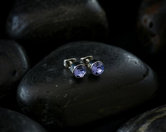 Swarovski Crystal Tanzanite Solitare Earrings set in Rhodium finish