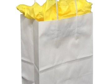 Pack 25 handled White paper bag,8x4.5x10.25,White paper gift bags,White paper shopping bags with handles,small white paper gift bags
