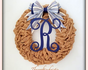 Monogrammed Wreath-Personalized Wreath-Housewarming Wreath-Winter Wreath-Front Door Wreaths-Holiday Wreath-Rustic Home Decor-Rustic Wreath