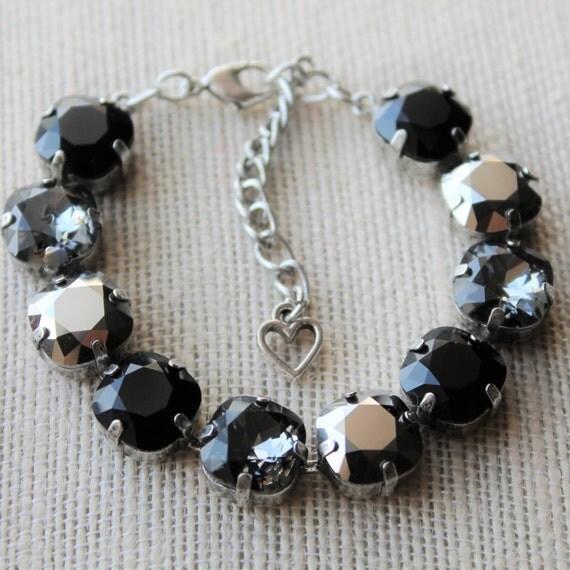 Swarovski Crystal Bracelet created with 12mm cushion cut stones in Jet, Black Diamond and Chrome