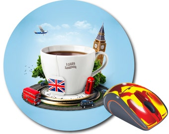 London icon Round mouse pad Computer Mouse pad Round mousepad Circle mouse pad Computer Decor London gift Mouse Mat Big ben gift Office gift
