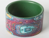 Decoupage wooden bracelet, Hundertwasser pattern