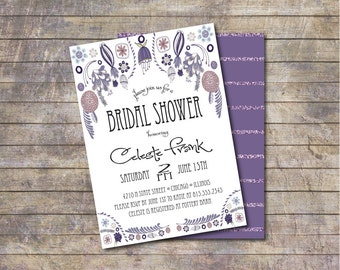 Bridal Shower invite, Gray Bridal Shower Invite, Whimsical Bridal Shower Invite, Shower Invite, Purple Bridal Shower Invite, Invite