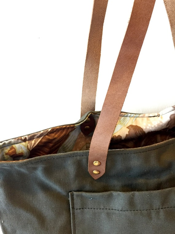 Portlander Tote in Olive with Floral Lining
