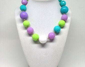 Intriguing Signed Yosca Bright Colored Lucite Beaded Vintage Estate Necklace