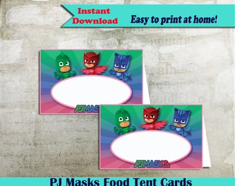 Printable PJ Masks Food Labels, PJ Masks Food Tent Cards, PJ Masks Party Table Labels or Pj buffet cards - Instant Download