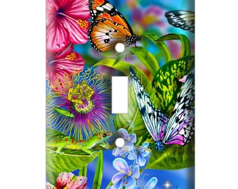 Butterfly Garden - Decorative Light Switch Cover - Single Toggle Switch Plate Cover