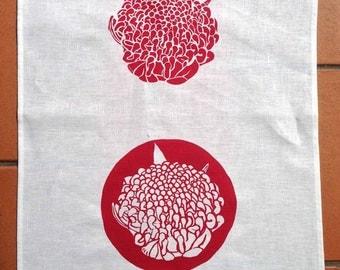 """Handprinted """"Waratah""""Linen Tea Towel"""