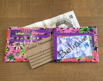 Handmade Bi-Fold Duck Tape Wallet - Flowers