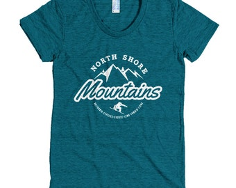 North Shore Mountains Vancouver Women's Snowboarding T-Shirt