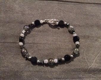 Black and Silver Star Beaded Bracelet