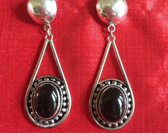 Sterling silver and onyx  drop earrings