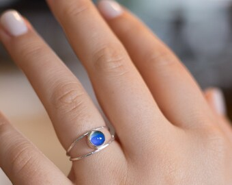 Evil Eye Mood Ring / Sterling Silver Band / Color Changing