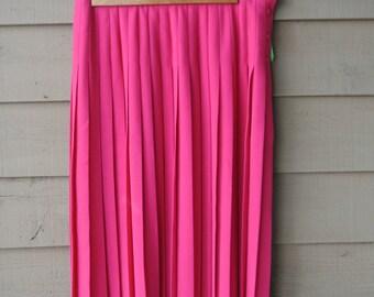 Vintage Plus Size / Plus Size Hot Pink Skirt / Vintage Pink Skirt / Size 14