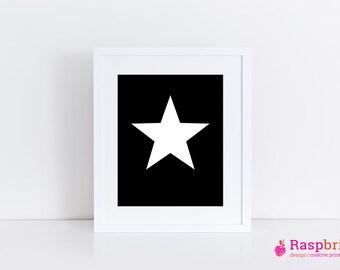 star, digital print, home decor, modern, scandinavian, wall art, bold, poster, 8x10, black and white