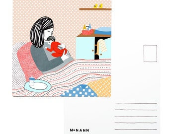 Illustration postcard - Days in bed