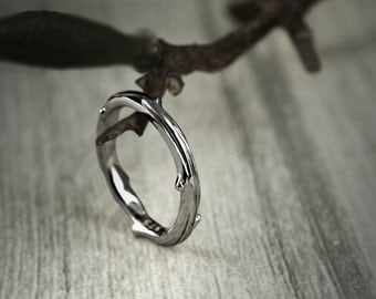 Twig Wedding Band Ring - 9 ct / 14 ct / 18 ct White Gold - Stacking Rings - Hand made to Order