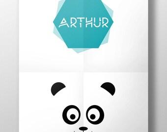 Displays Panda name boy [customize] [printable]