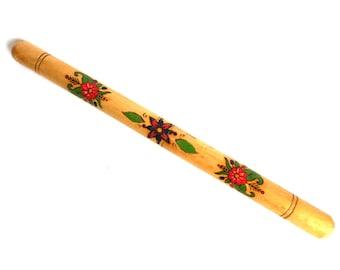 Vintage Floral wooden needle case. Folk art souvenir Sewing storage #5E8G132K32