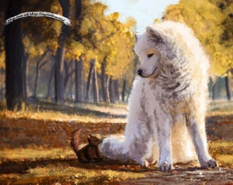 Samoyed // Painting // Wall art // Print // Squirrel // Forest // Autumn leafs // Fall colors // Large Print