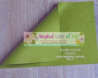 Dark OLIVE GREEN Pure Merino Wool Felt Sheet 8x12 100% wool felt sheet