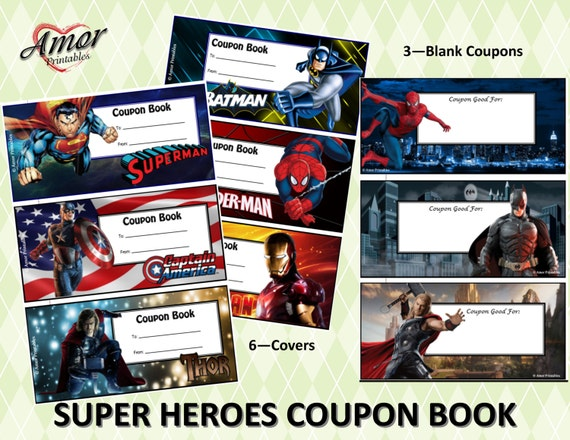Super Heroes Kids Coupon Book